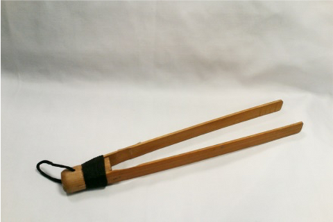 "Natural Finish 12"" Bamboo Tongs"