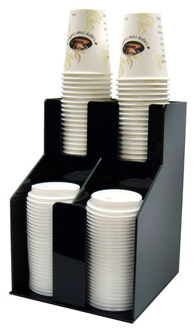 Cup & Lid Organizer with 2 Tiers & 2 Stacks