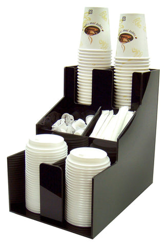 Cup & Lid Organizer with 3 Tiers & 2 Stacks