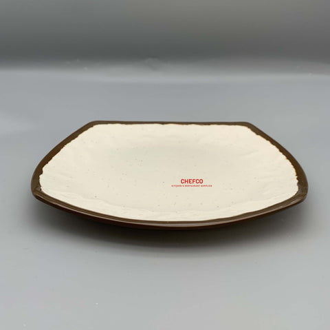 Two Toned Beige Square Melamine Plate