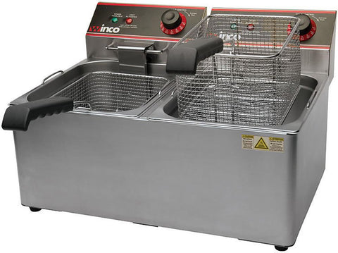Winco Countertop Double Well Deep Fryer