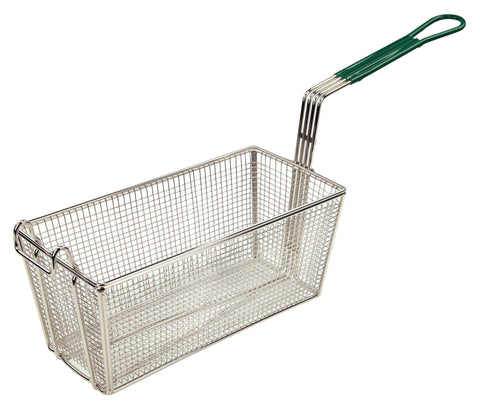 "Fry Basket with 10"" Green  Handle (13.25""L x 6.5""W x 5-7/8""H)"