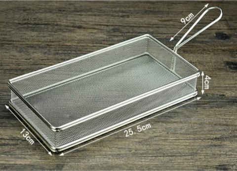 Mini Rectangular Fry Serving Basket (25.5cmL x 13cmW x 4.5cmH)