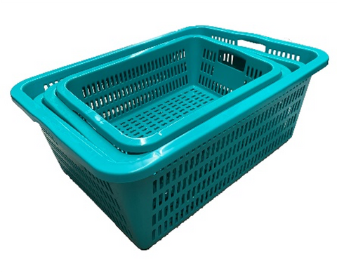 Green Rectangular Vegetable Wash Basket with Cut-out Handle