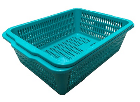 Green Rectangular Vegetable Wash Basket (Medium Grid)