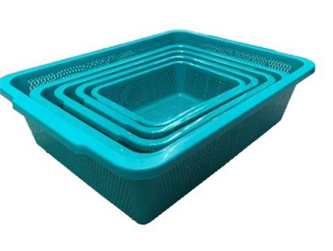 Green Rectangular Vegetable Wash Basket (Fine Grid)