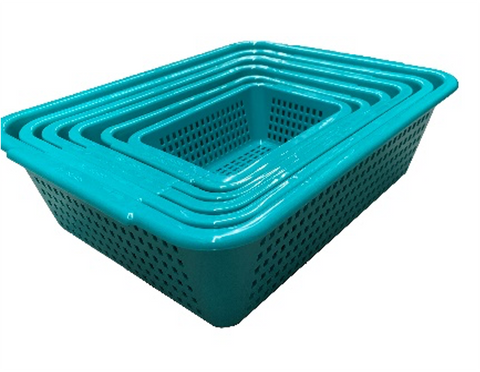 Green Rectangular Vegetable Wash Basket (Large Grid)