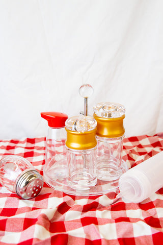 PMMA Sauce and Oil Bottle with Gold Lid (108-240mL)