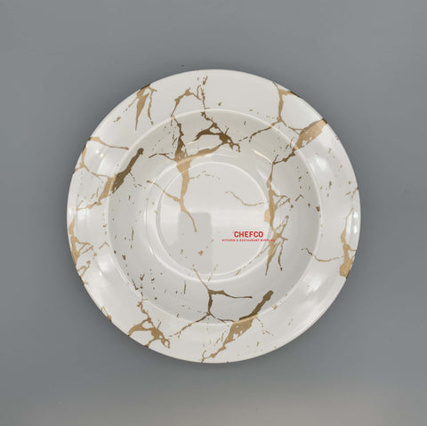 "White and Gold Marble Melamine Pasta Plate (10"" Dia.)"