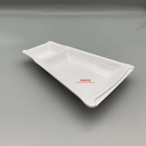 Appetizer Melamine Plate with Sauce Compartment (22.5cm x 15.5cm)