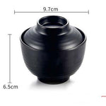 "Matte Black Melamine Miso Soup Bowl with Lid (3.8"" Dia.)"