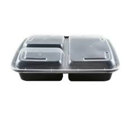 Plastic Rectangular Food Container with 3 Compartments (Set of 150)