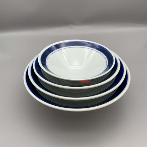 "Blue Border Pattern Melamine Bowl (6.8""-9.8"" Dia.)"