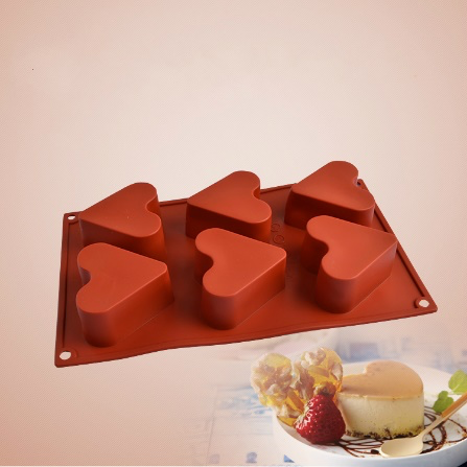 Red Silicone 6 Compartment Heart Shaped Baking Molds
