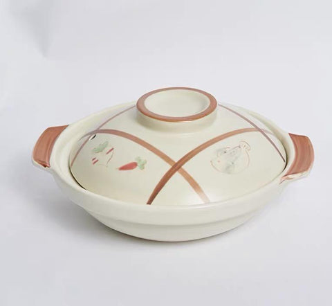 White Ceramic Clay Braising and Casserole Shoal Pot with Lid