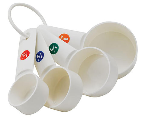 White Plastic Measuring Cup Set