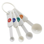 White Plastic Measuring Spoon 4 Piece Set
