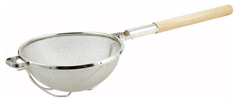 "Nickel Plated 10.5"" Reinforced Round Double Mesh Strainer"