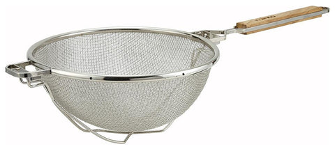 "Nickel Plated 10.5"" Reinforced Round Double Mesh Strainer with Flat Handle"