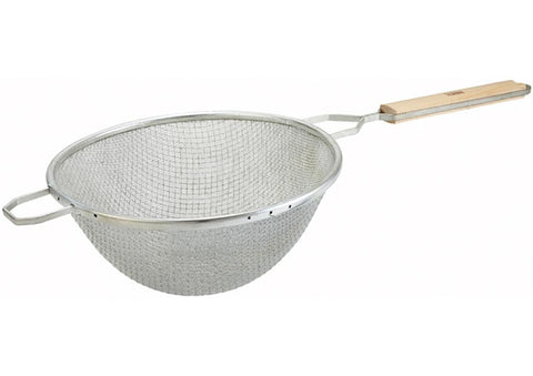 "Nickel Plated Medium Round Double Mesh Strainer (10.5"" Dia.)"
