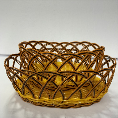 Oval Orange and Black Woven Serving Basket