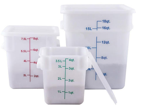 White Polypropylene Square Food Storage Container & Lid