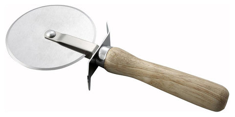 "Rotary 4"" Diameter Pizza Cutter with Wooden Handle"