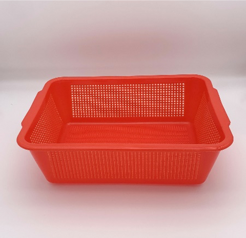 Plastic Rectangular Vegetable Wash Baskets (Fine Grid)