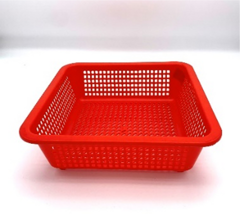 Red Plastic Rectangular Vegetable Wash Basket (7.5cm High, Fine Grid)
