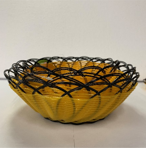 Round Black Woven Serving Basket