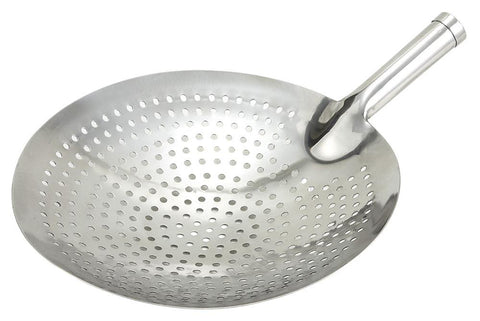 "Stainless Steel Heavy Duty 12"" Diameter Mandarin Style Strainer/Oil Skimmer"