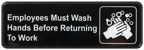 """Employees Must Wash Hands Before Returning to Work"" Sign"