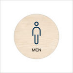 """Mens Restroom"" Round Wooden Sign, Chinese/English"