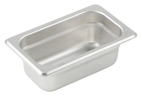 Stainless Steel 23 Gauge Anti-Jam 1/9 Size Steam Table Pan