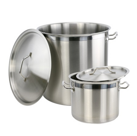 Heavy-Duty Stainless Steel Stock Pot with Lid Set with Reinforced Handles (25-60cm Dia x 25-80cm Height/12.5L-226L)