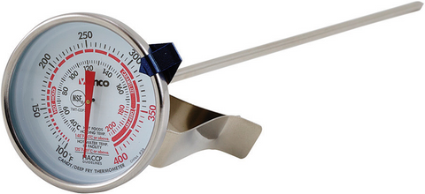 "Deepfry/Candy Thermometer, 2"" Dial, 12"" Probe"