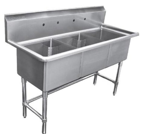 Metal304 16 Gauge Stainless Steel Three Compartment Sink, No Drainboards