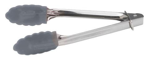 "Stainless Steel 7"" Tongs with Silicone Tips"