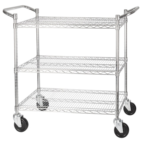 "3-Tier Wire Shelving Cart 18"" X 36"""