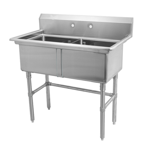 Metal304 16 Gauge Stainless Steel Two Compartment Sink, No Drainboards