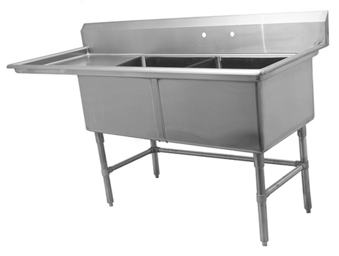 Two Compartment Sink with Left Drainboard