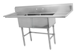 Metal304 16 Gauge Stainless Steel Two Compartment Sink with Right & Left Drainboards