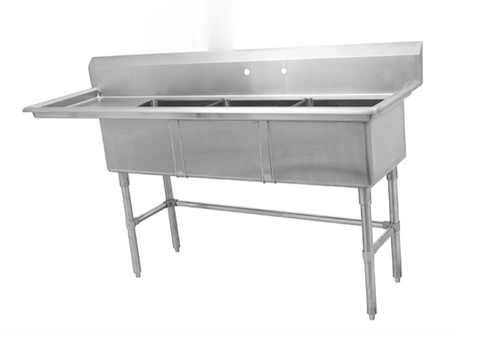 Three Compartment Sink with Left Drainboard