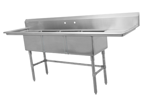 Three Compartment Sink with Right and Left Drainboards