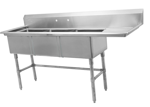 Three Compartment Sink with Right Drainboard