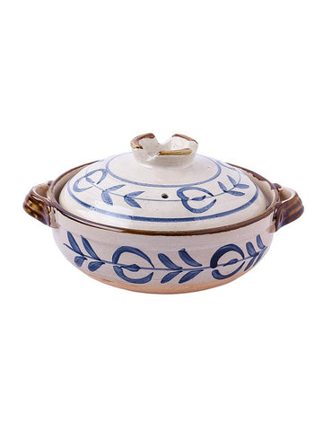 Japanese Ceramic Clay Braising and Casserole Shoal Pot with Lid