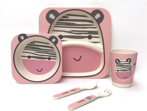 Children's 5 Piece Bamboo Dinner Set, Eco-Friendly, Dishwasher Safe (Zebra)