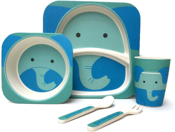 Children's 5 Piece Bamboo Dinner Set, Eco-Friendly, Dishwasher Safe (Elephant)