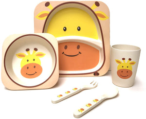 Children's 5 Piece Bamboo Dinner Set, Eco-Friendly, Dishwasher Safe (Giraffe)