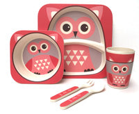 Children's 5 Piece Bamboo Dinner Set, Eco-Friendly, Dishwasher Safe (Owl)